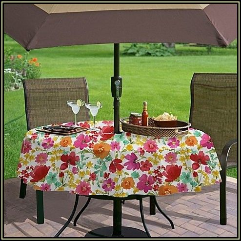 Round Patio Table Cover With Umbrella Hole Zipper
