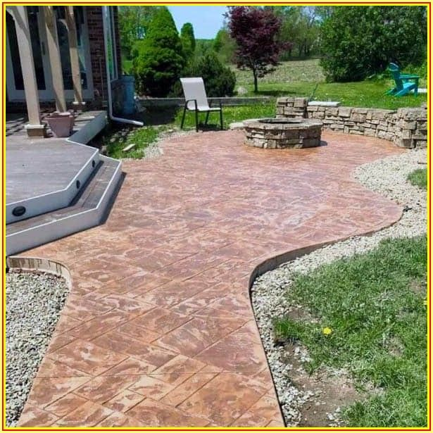 Stamped Concrete Backyard Concrete Patio Ideas
