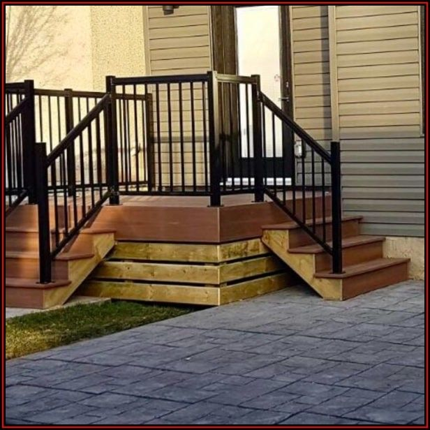Stamped Concrete Patio With Railing