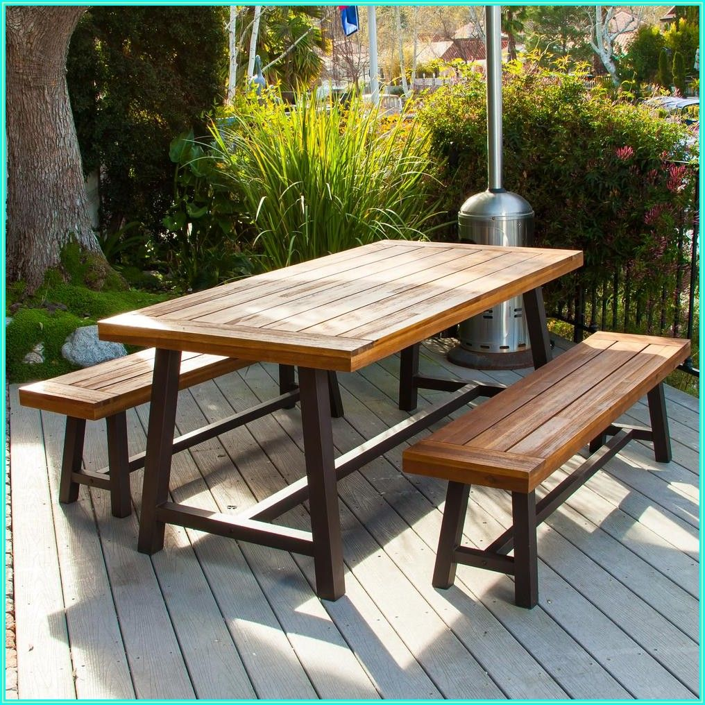 Wood Patio Dining Set With Bench