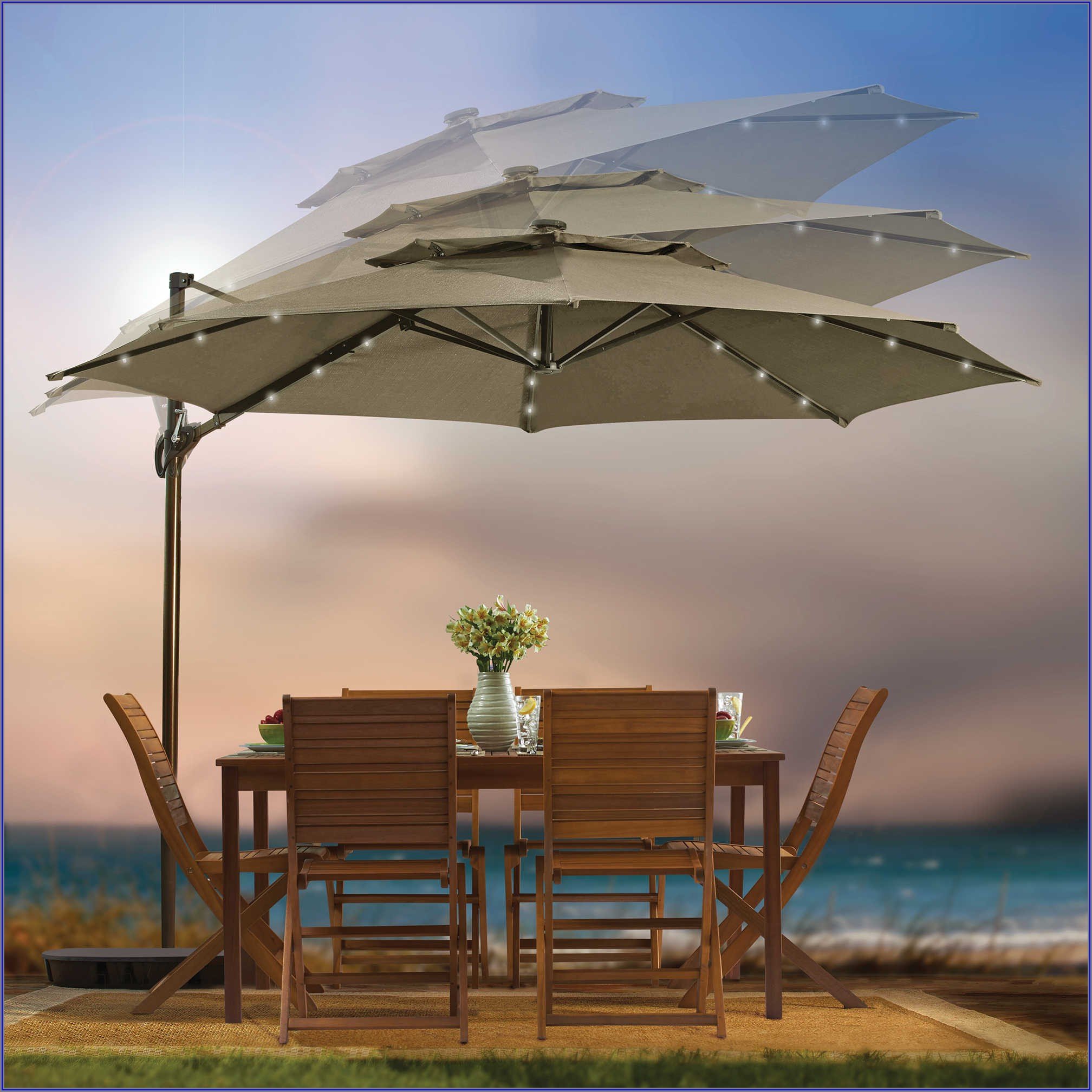 11 Foot Solar Led Patio Umbrella
