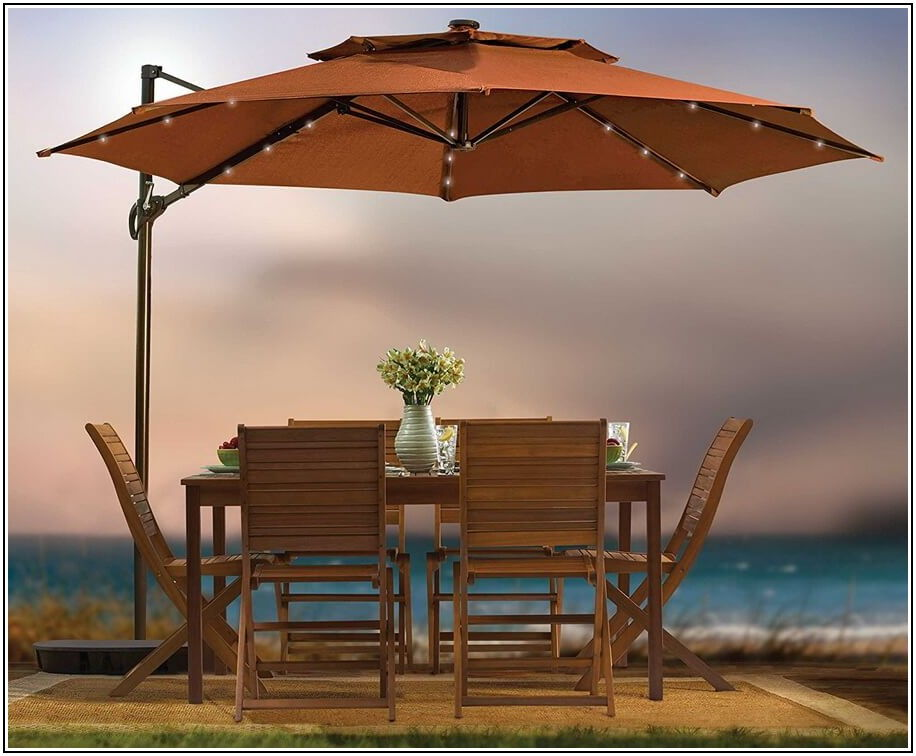 11 Ft Patio Umbrella With Led Lights