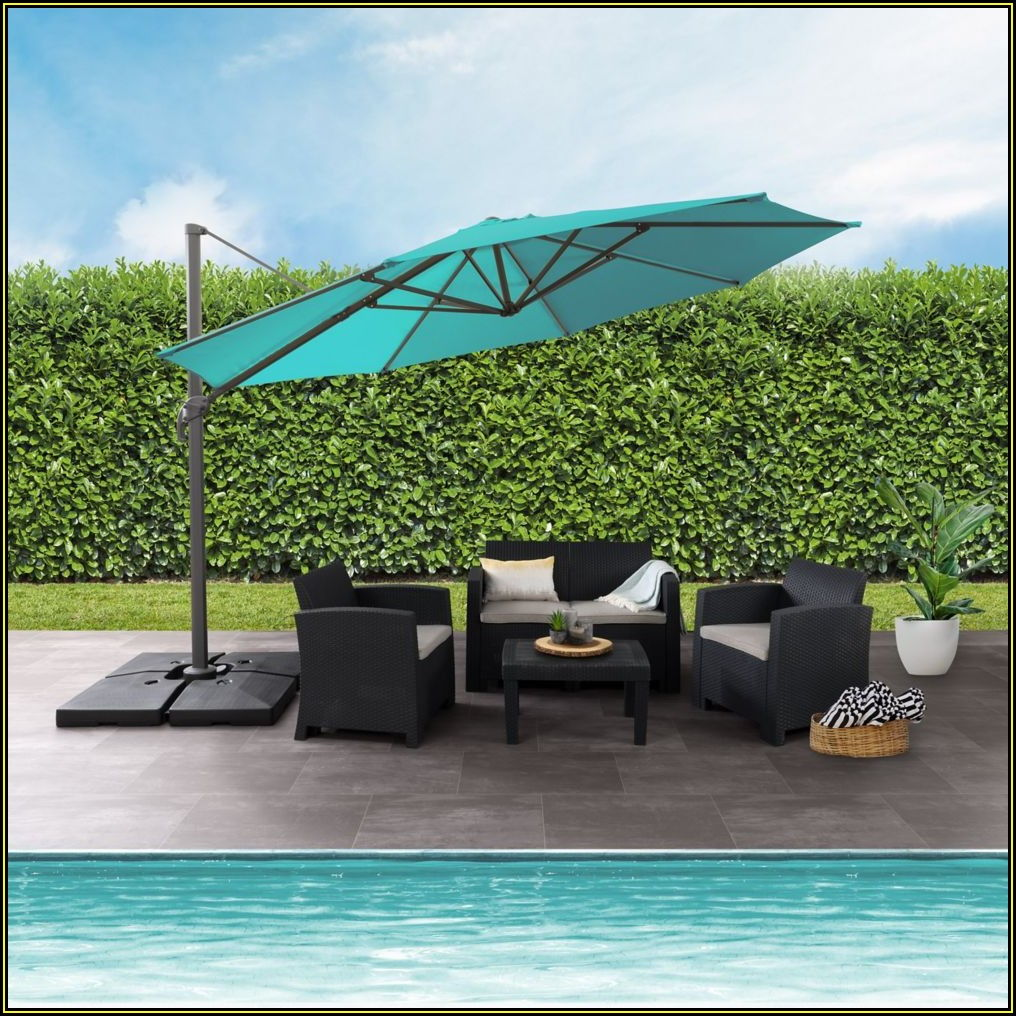 11 Ft Patio Umbrella With Solar Lights