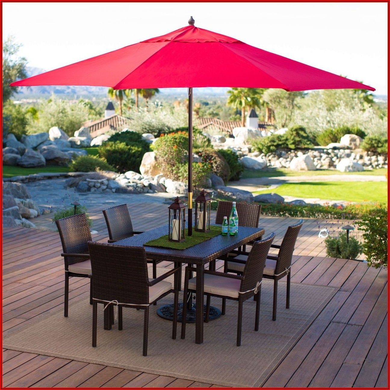 11 Ft Red Patio Umbrella