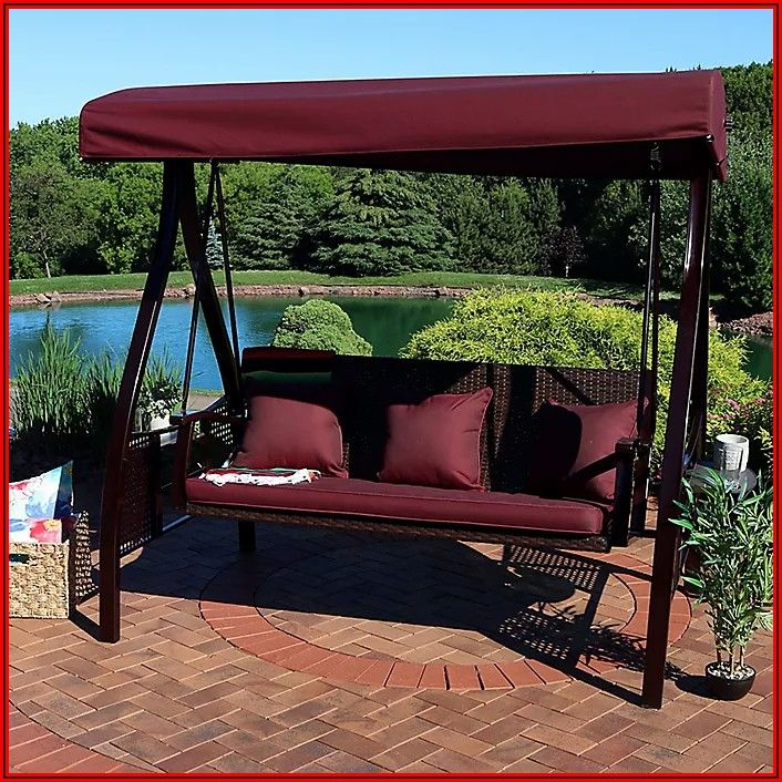 3 Person Cushion Patio Swing With Canopy
