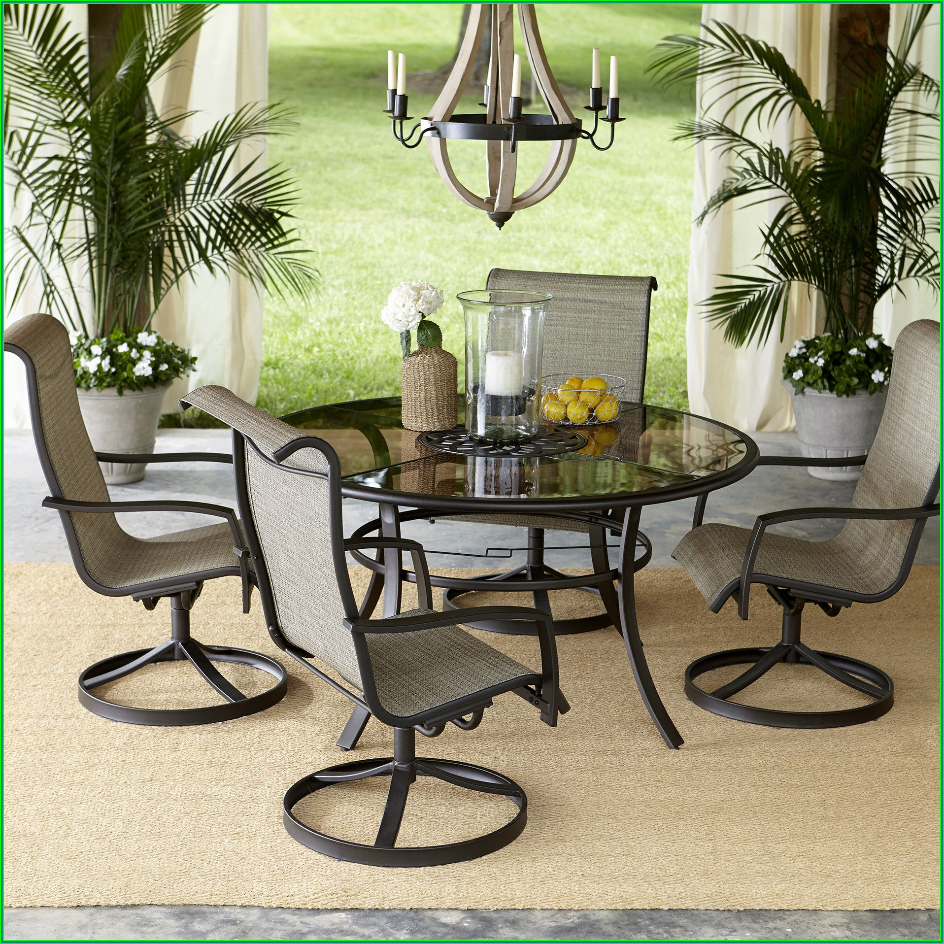 5 Piece Patio Set With Swivel Chairs