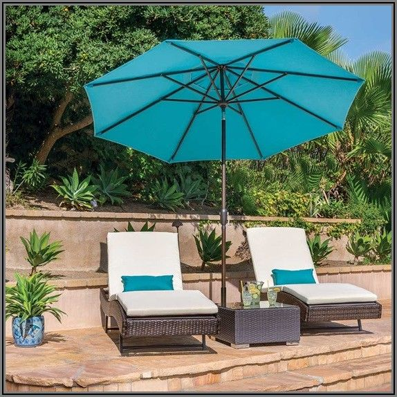 9 Ft Auto Tilt Round Patio Umbrella