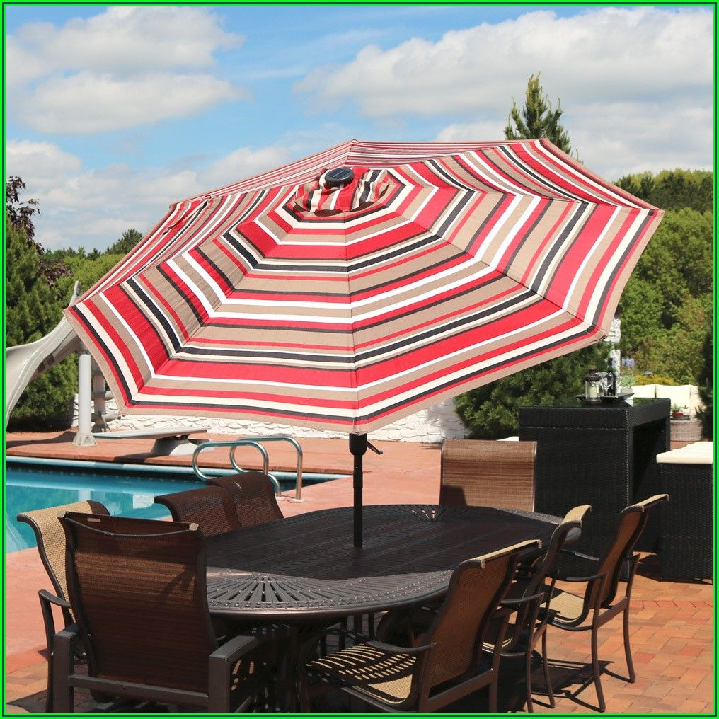 9 Ft Striped Patio Umbrella