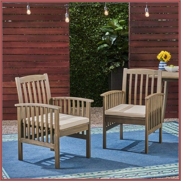 Acacia Wood Patio Chairs With Cushions Set Of 2