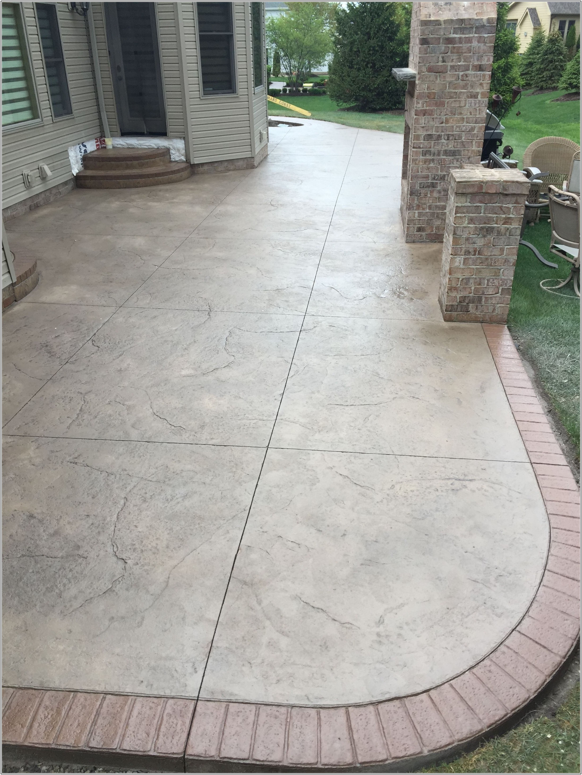 Backyard Plain Concrete Patio With Border