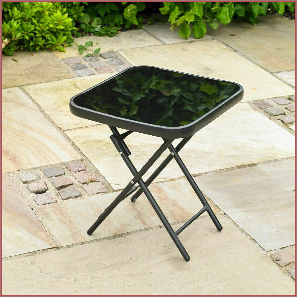 Black Folding Patio Table