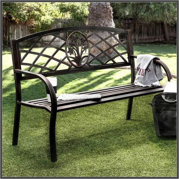 Black Metal Patio Bench