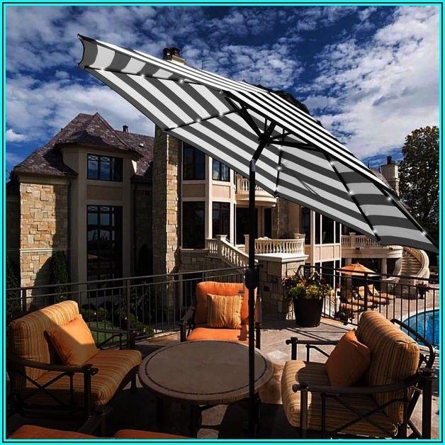 Black Patio Umbrella With Solar Lights