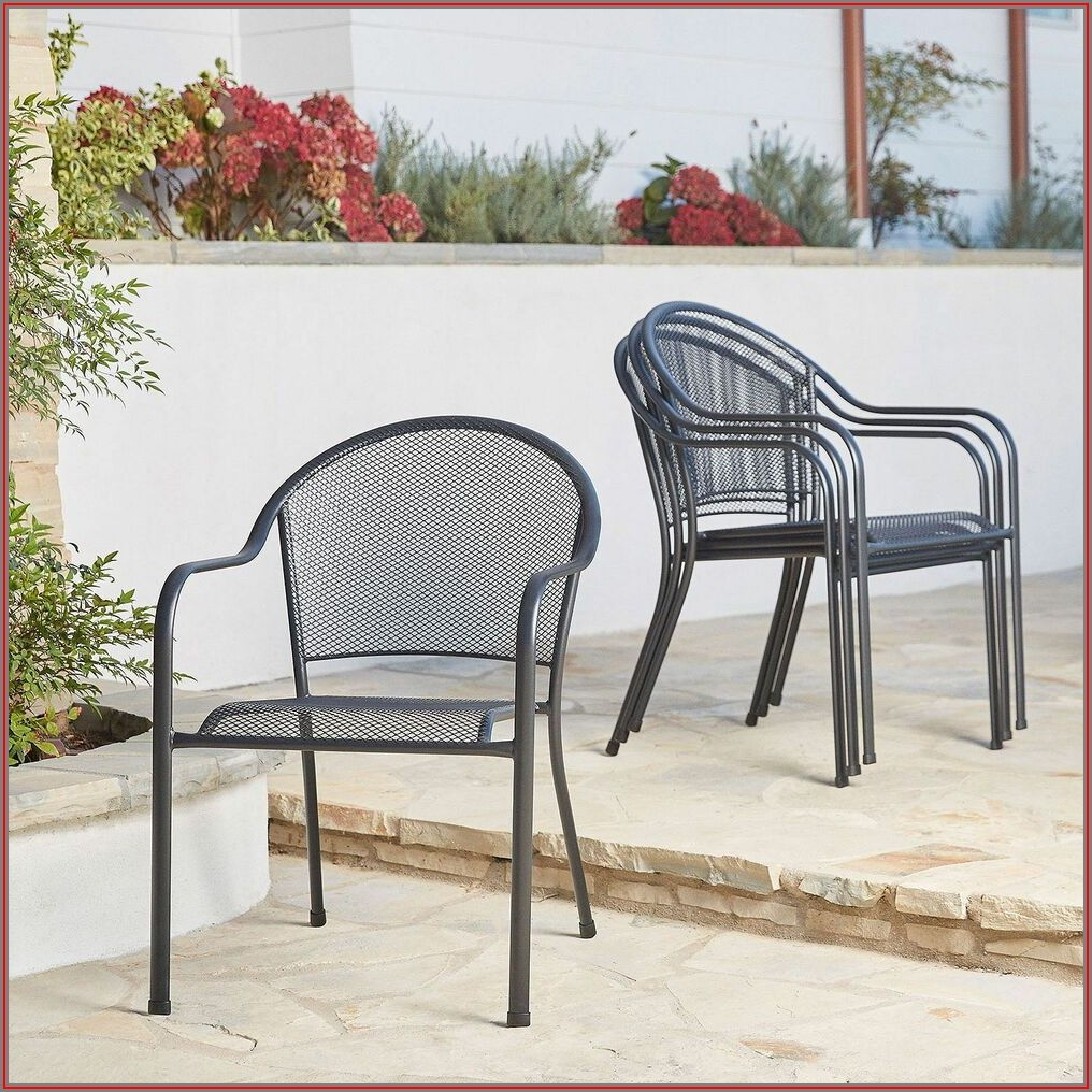 Black Steel Stackable Patio Dining Chair