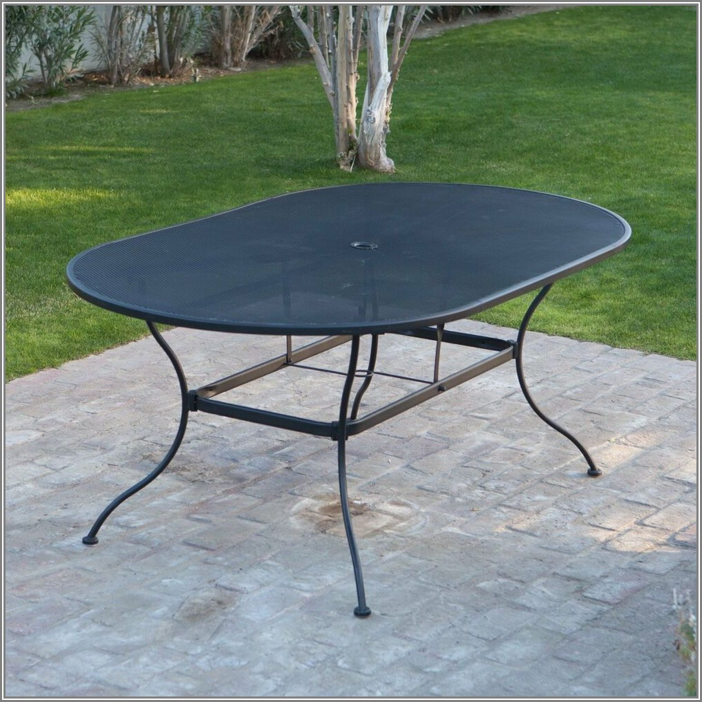 Black Wrought Iron Round Patio Table