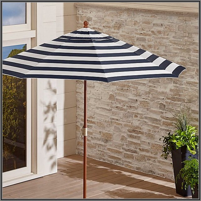 Blue And White Striped Patio Umbrella