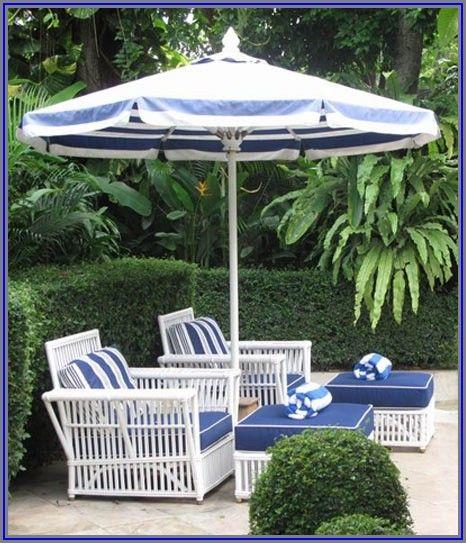 Blue Floral Patio Umbrella