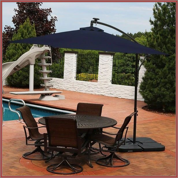 Blue Patio Umbrella With Solar Lights