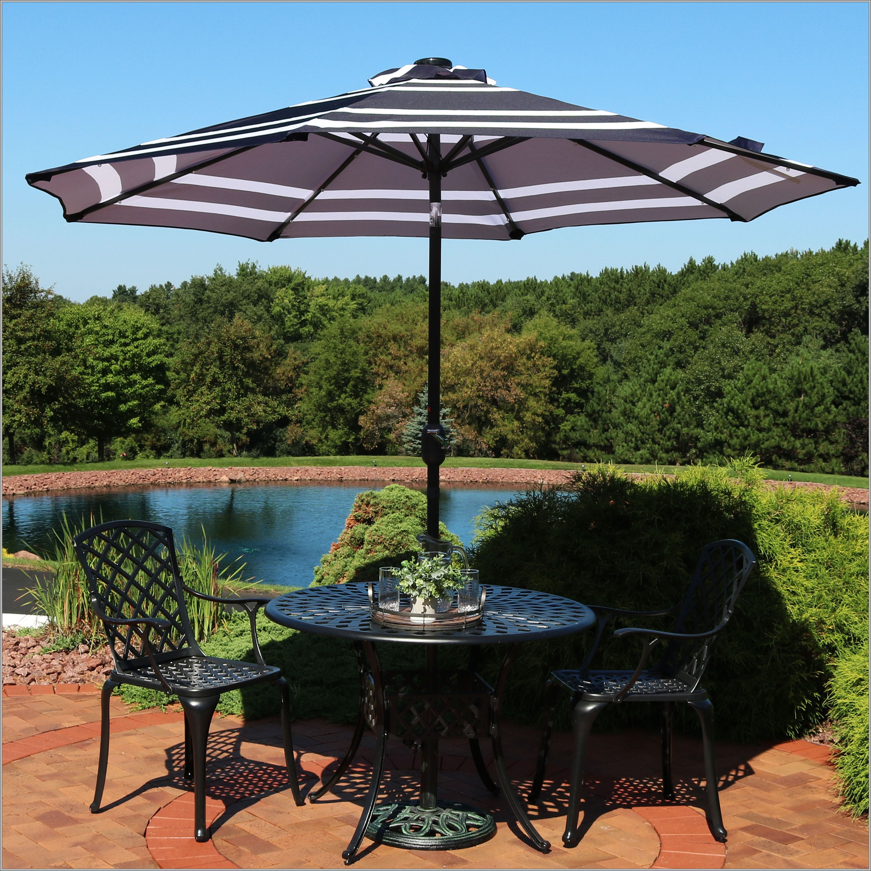 Blue Solar Patio Umbrella