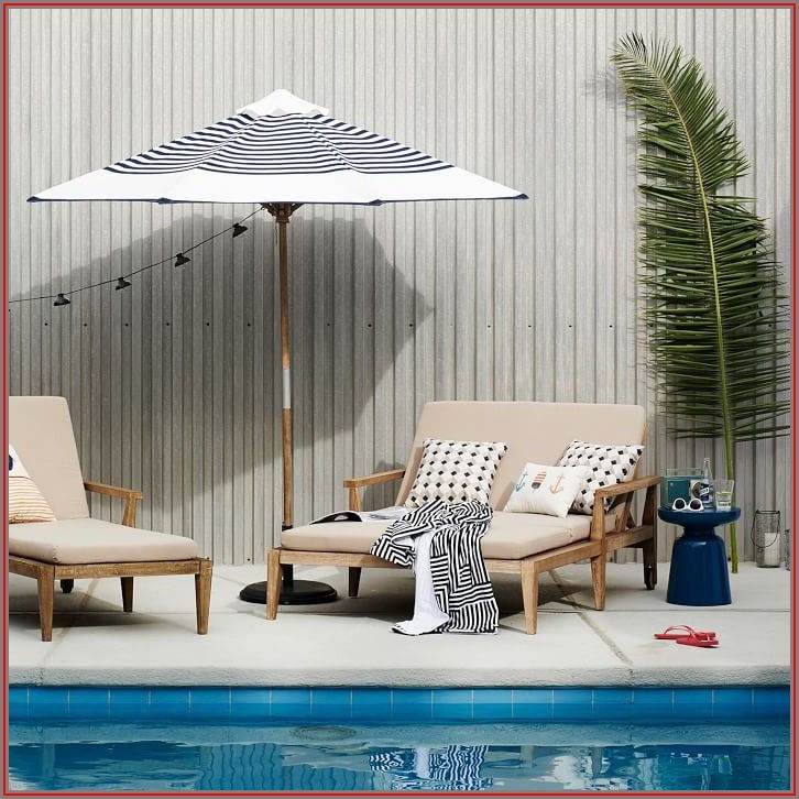 Blue Striped Patio Umbrella