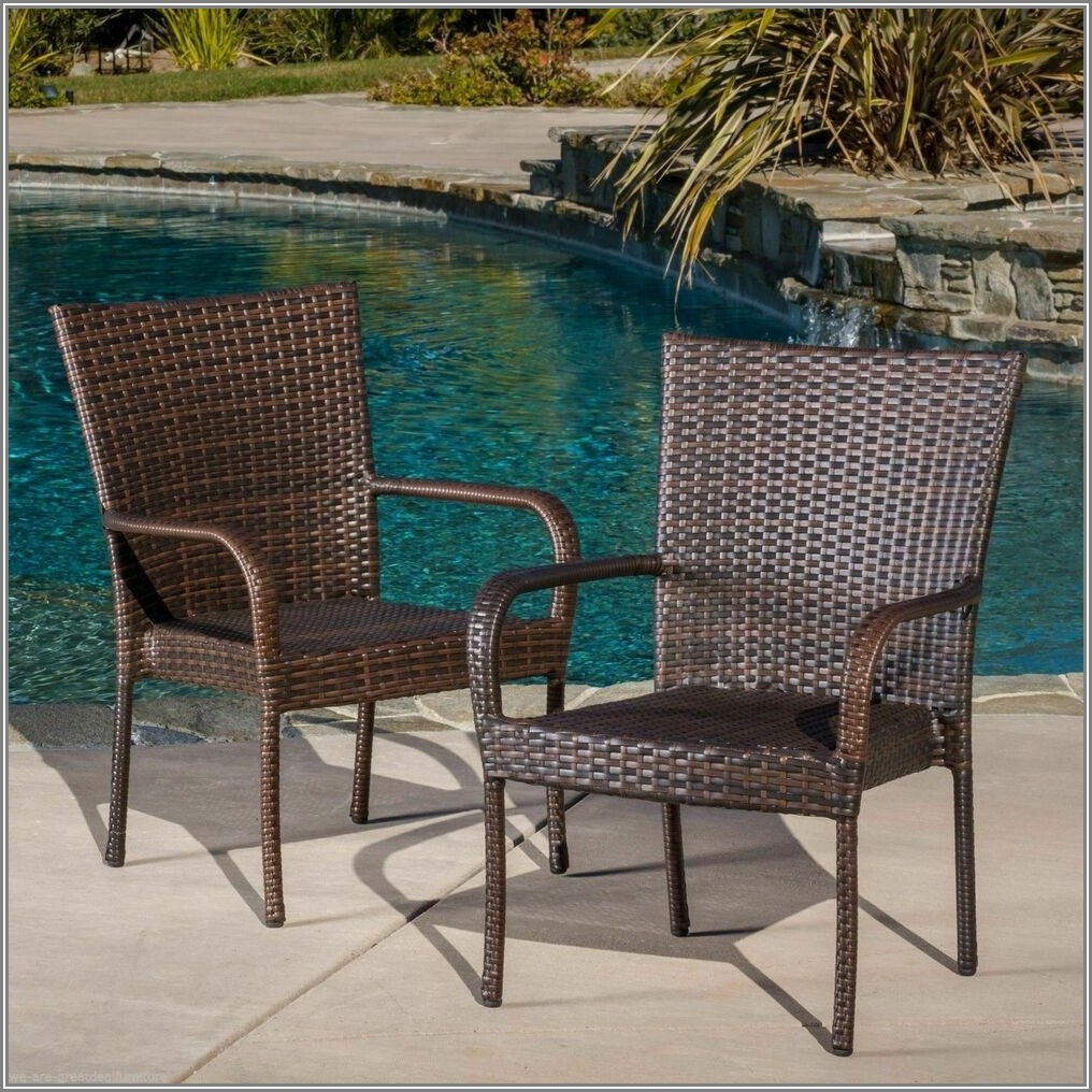 Brown Stackable Patio Chairs