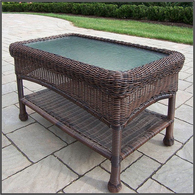 Brown Wicker Patio Coffee Table