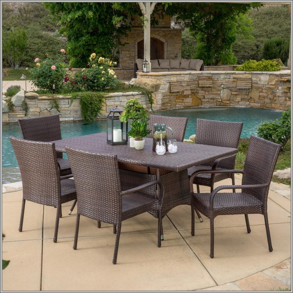 Brown Wicker Patio Dining Set