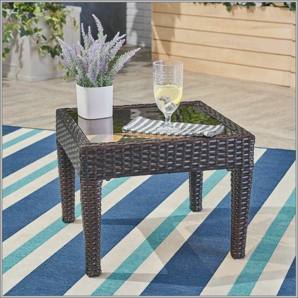 Brown Wicker Patio End Table