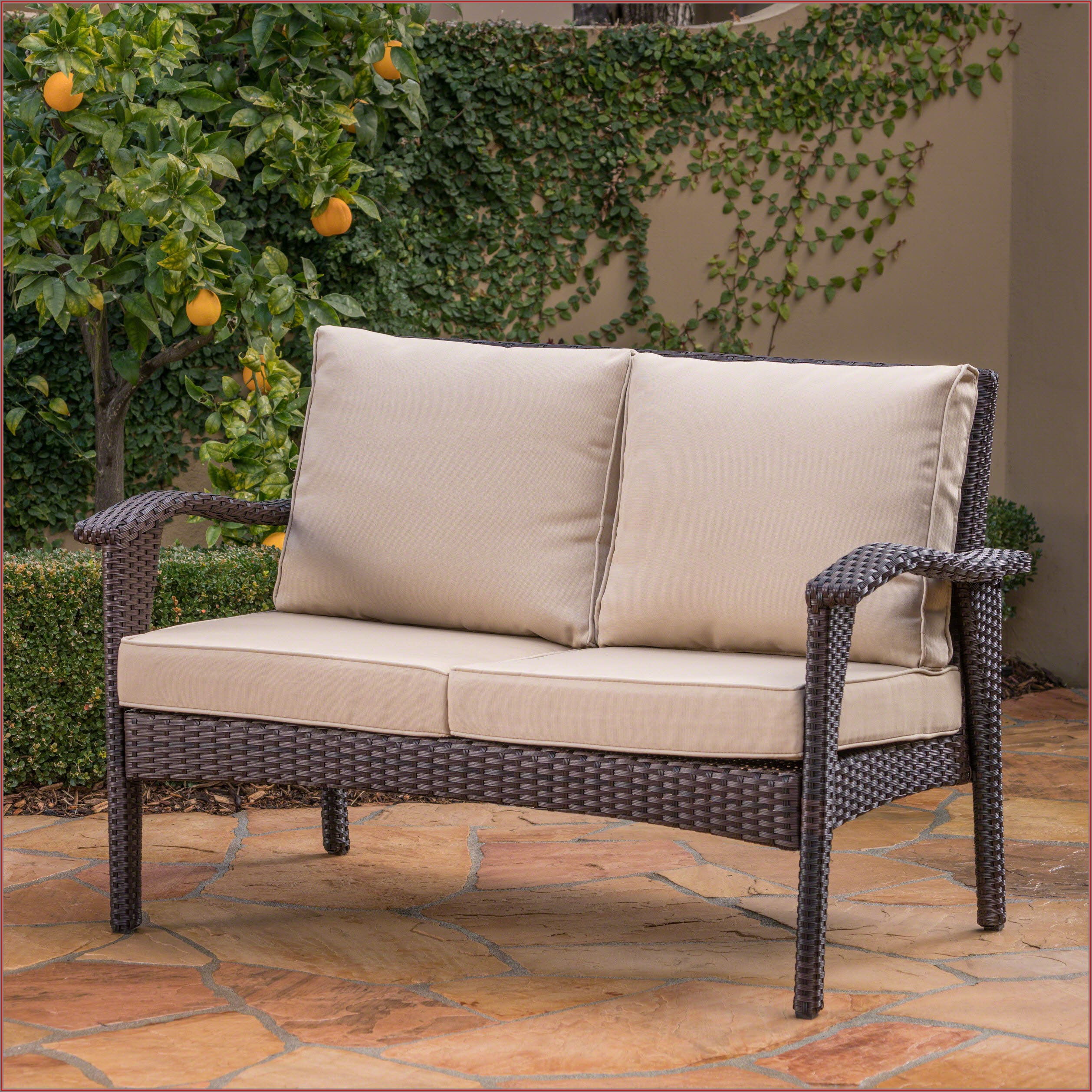Brown Wicker Patio Loveseat
