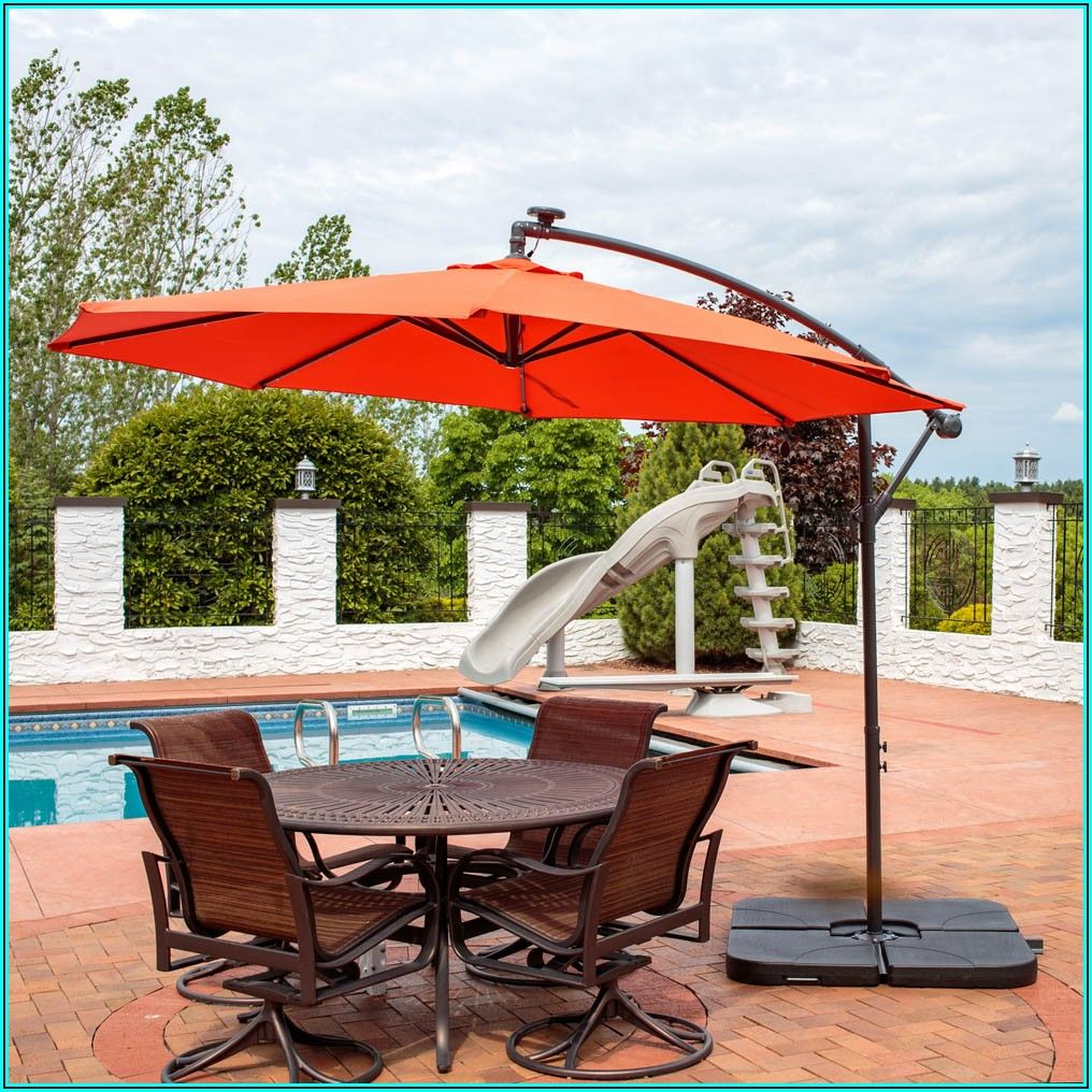 Cantilever Solar Led Offset Patio Umbrella