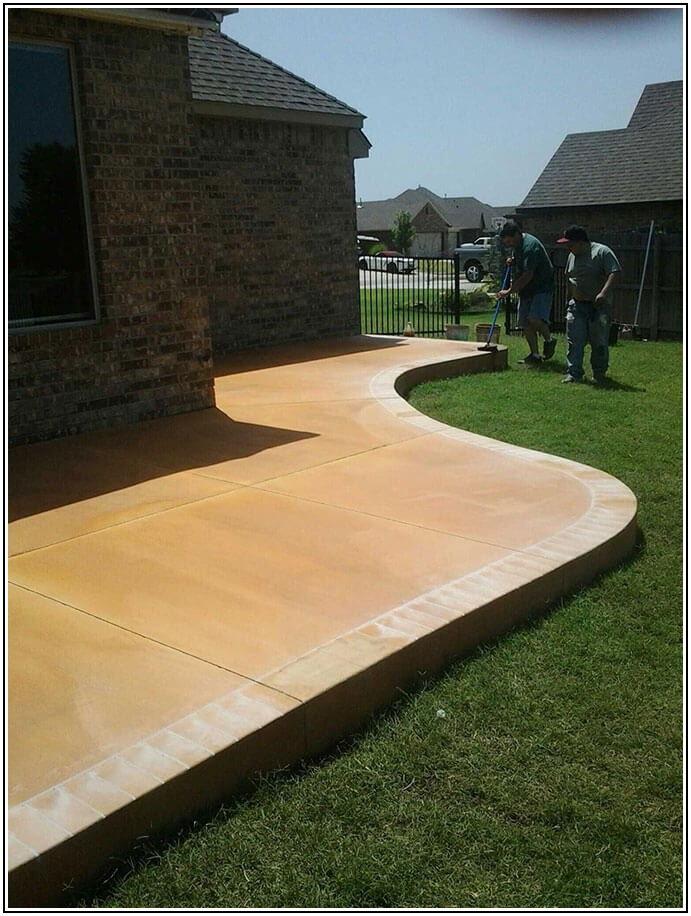 Concrete Patio With Brick Border