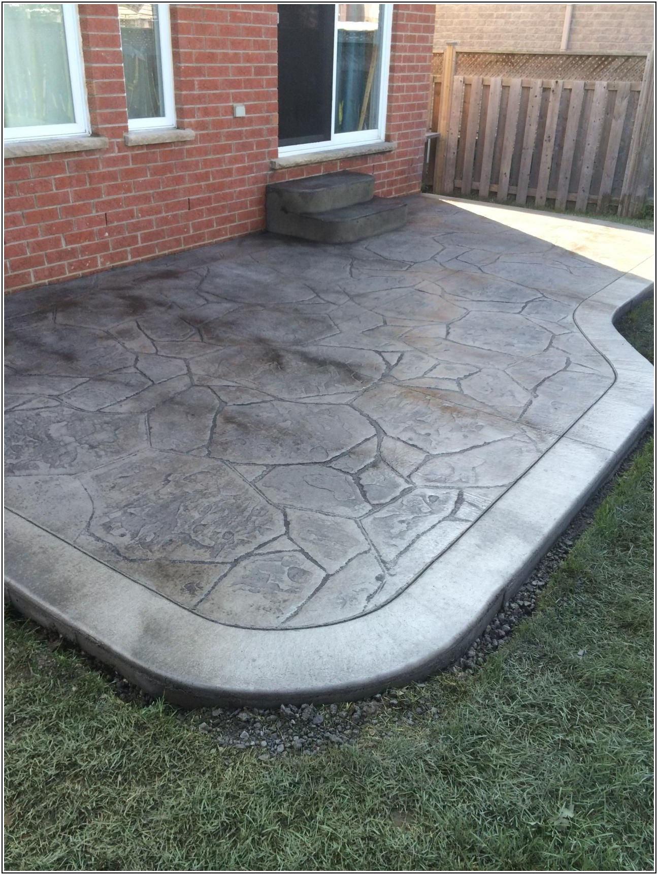 Concrete Patio With Flagstone Border