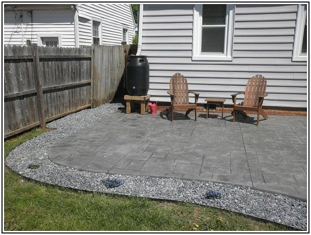 Concrete Patio With Rock Border