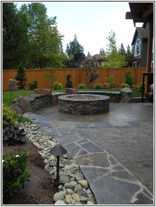 Concrete Patio With Stone Border