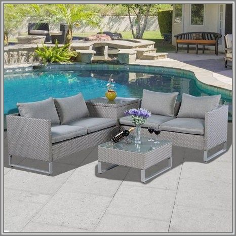 Goplus 4 Pc Rattan Patio Furniture