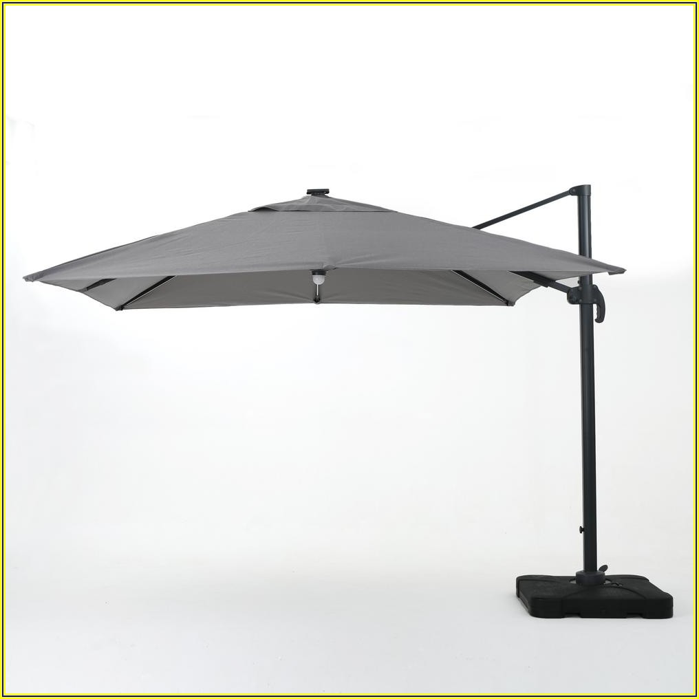 Gray And White Patio Umbrella