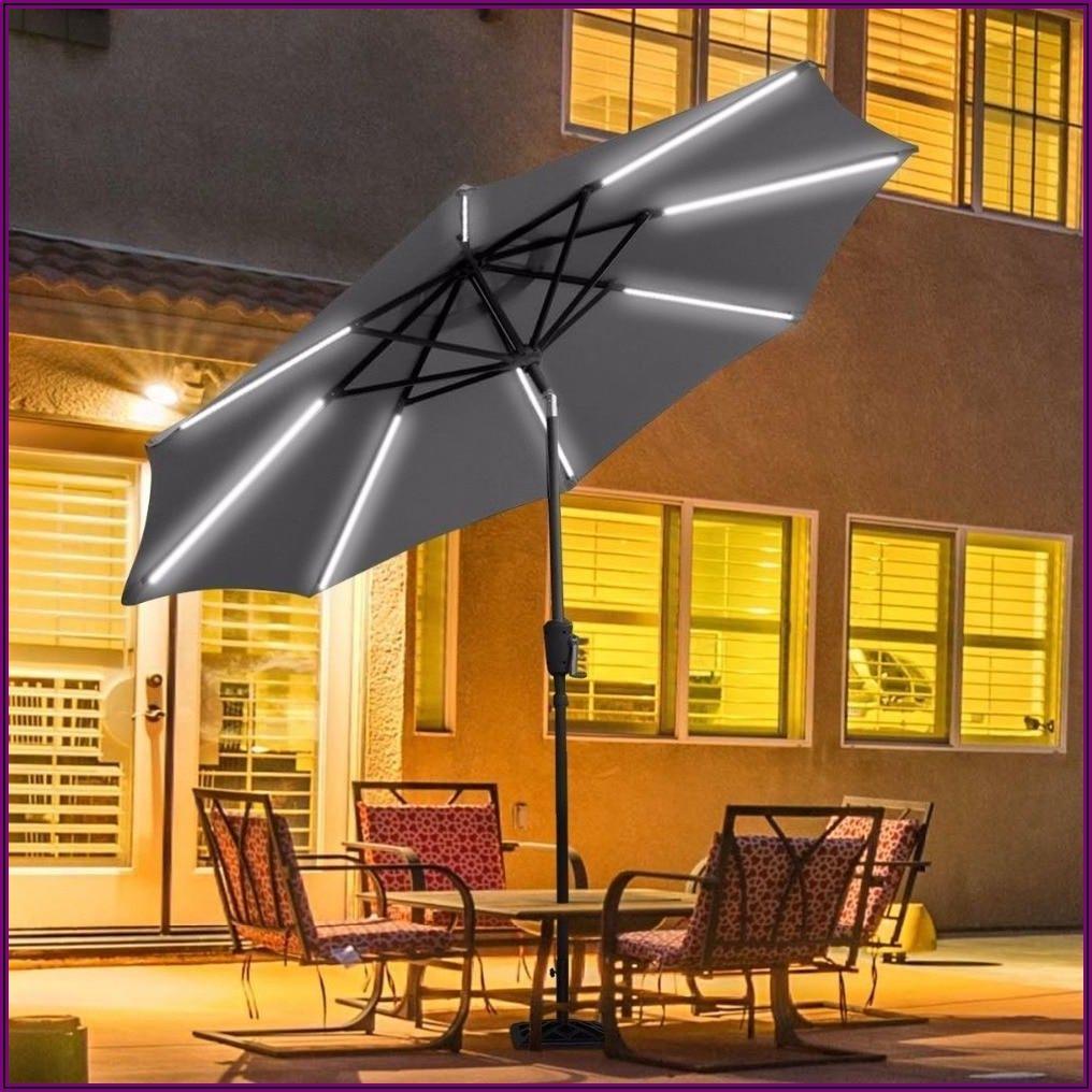 Gray Solar Patio Umbrella