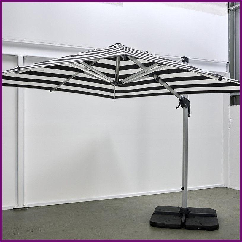 Gray Striped Patio Umbrella