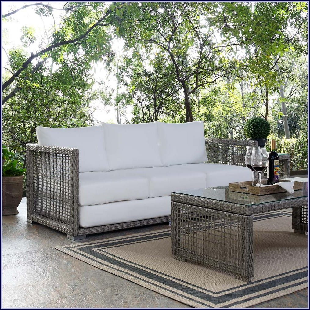 Gray Wicker Patio Sofa