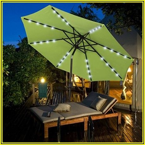 Green Patio Umbrella With Lights
