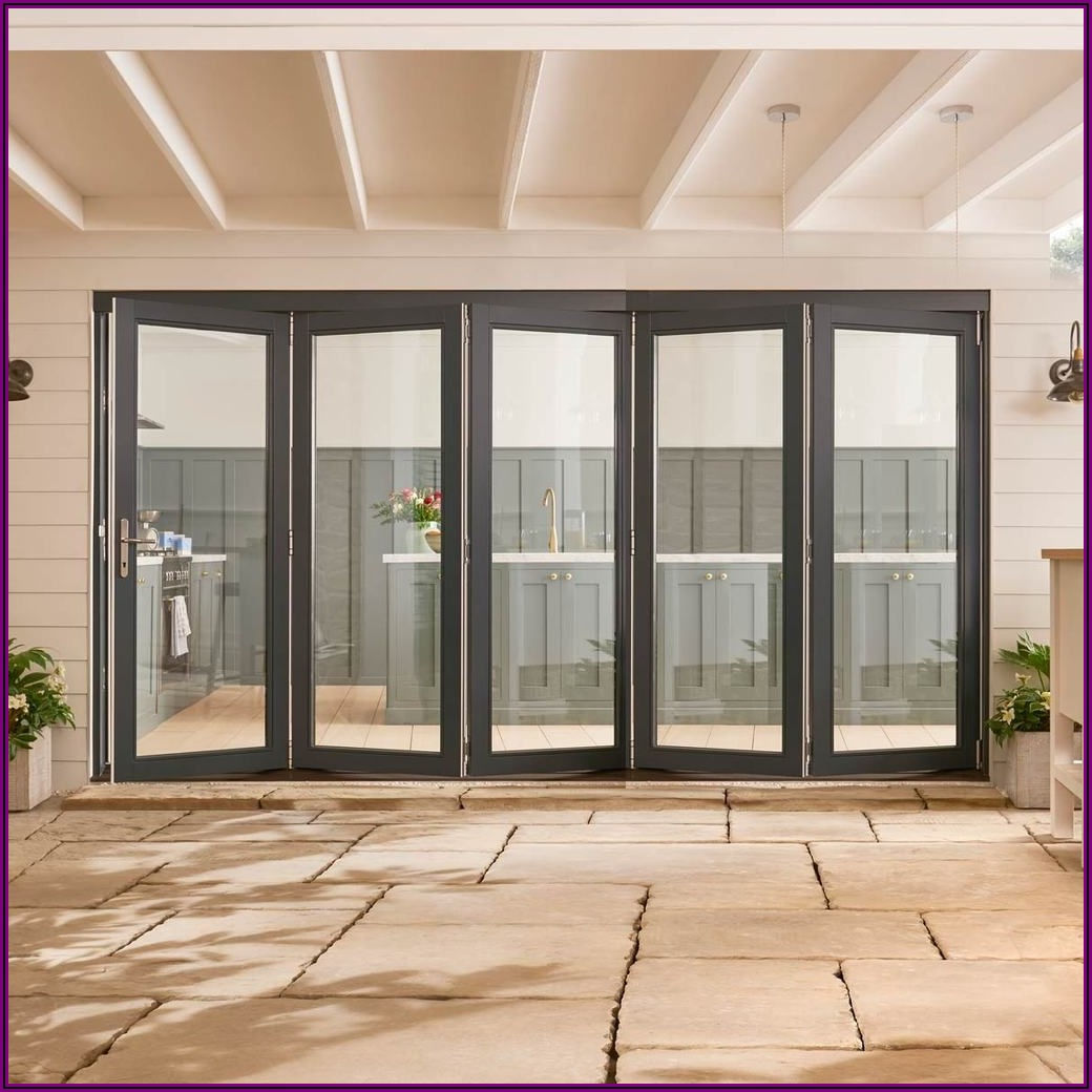 Grey Double Sliding Patio Doors