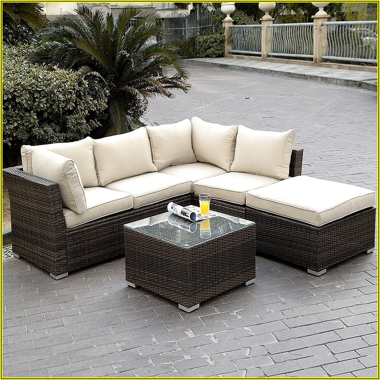 Luxxella Outdoor Patio Wicker Sofa Sectional