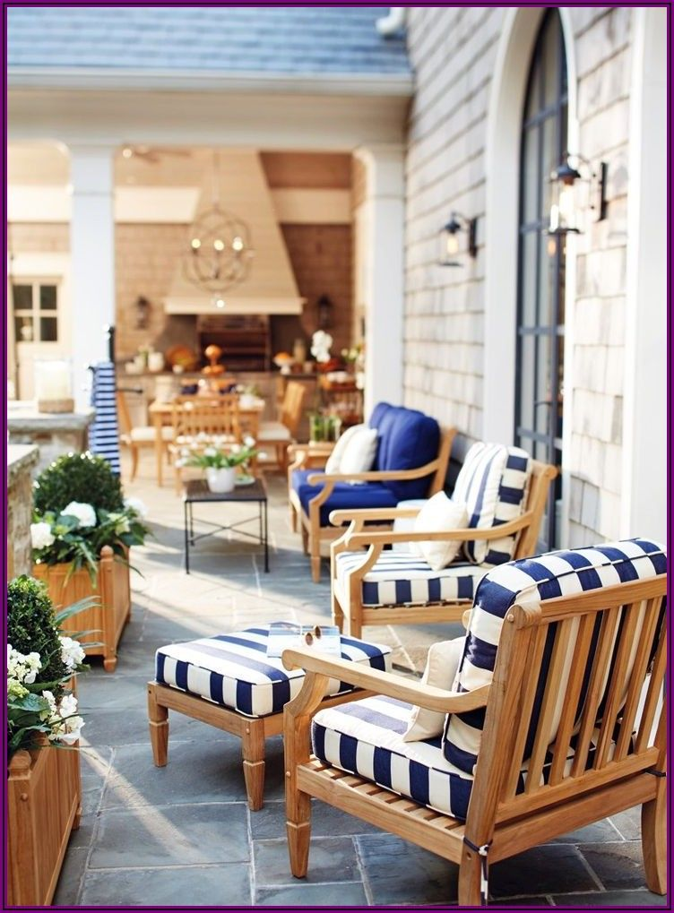 Navy Blue And White Striped Patio Cushions