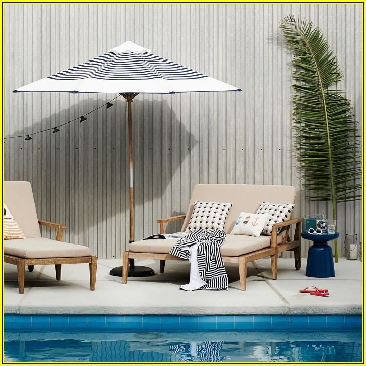 Navy Blue And White Striped Patio Umbrella