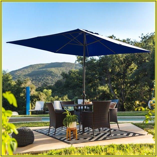 Navy Blue Rectangular Patio Umbrella