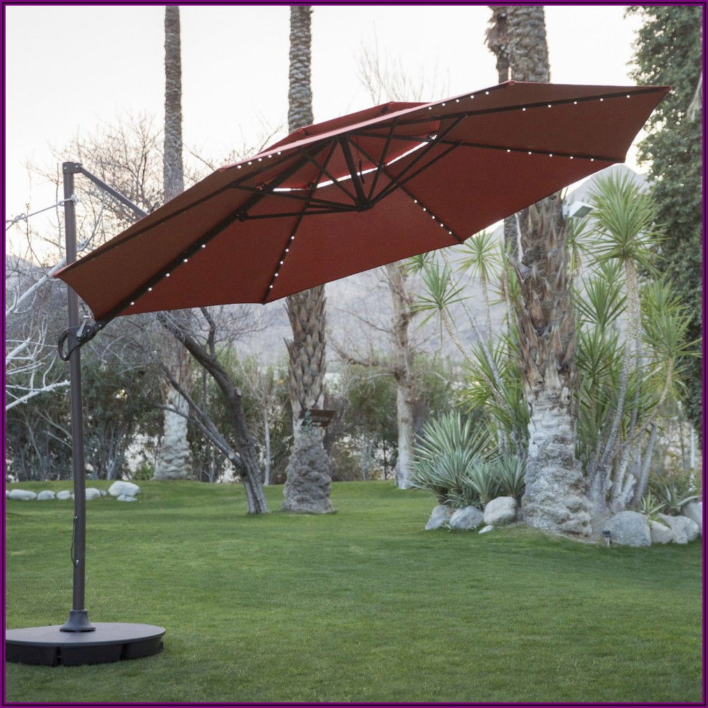 Offset 11 Ft Patio Umbrella With Base