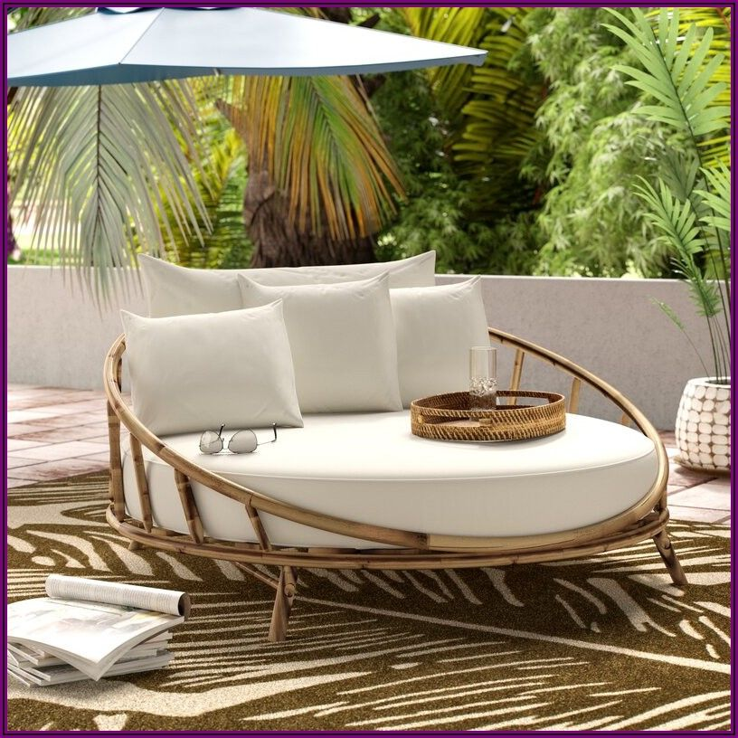 Olu Bamboo Round Patio Daybed With Cushions