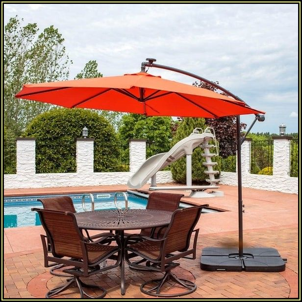Orange Patio Umbrella With Lights