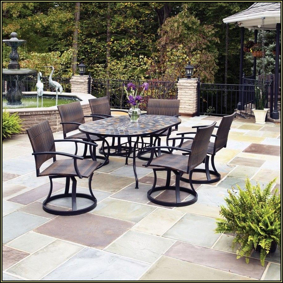 Oval Stone Patio Table