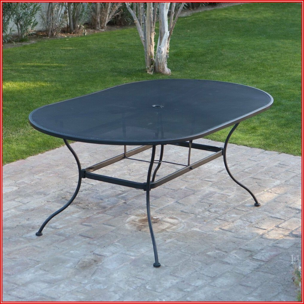 Oval Wrought Iron Patio Dining Table